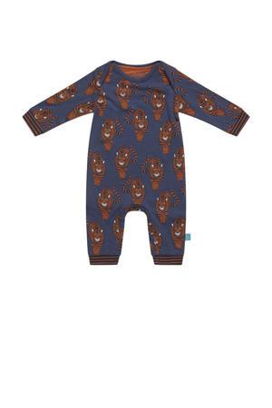 baby boxpak met all over print blauw/bruin