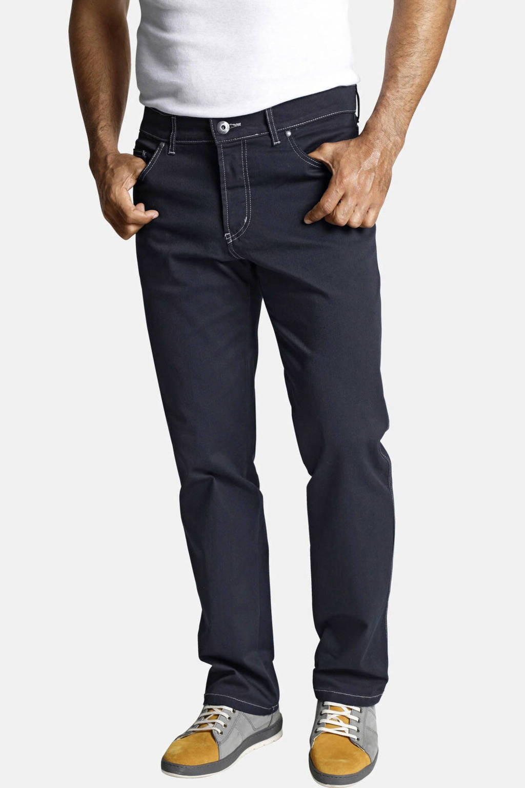 Jan Vanderstorm regularfit broek Plus Size GUNNAR donkerblauw, Donkerblauw