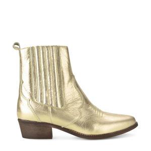 leren cowboylaarzen goud
