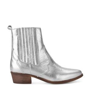leren cowboylaarzen zilver