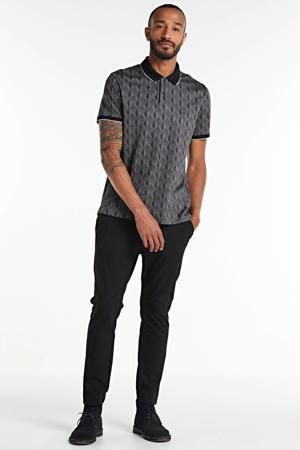 regular fit polo met all over print grijs/zwart