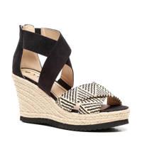 Scapino Nova   sandalettes zwart, Zwart/wit