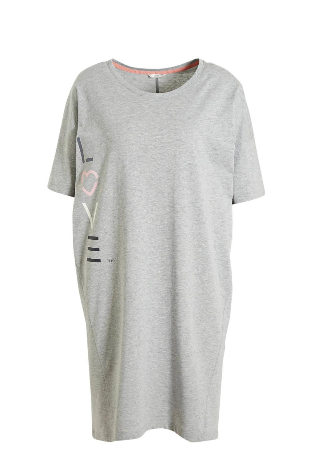 ESPRIT Women Bodywear nachthemd met printopdruk grijs, Grijs