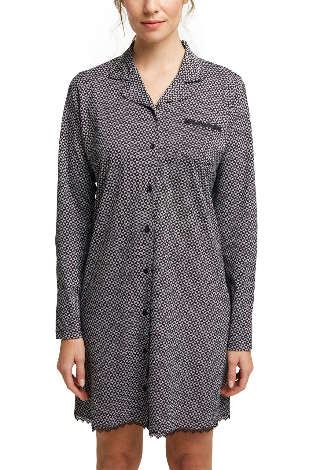 ESPRIT Women Bodywear nachthemd met all over print zwart/wit, Zwart/wit