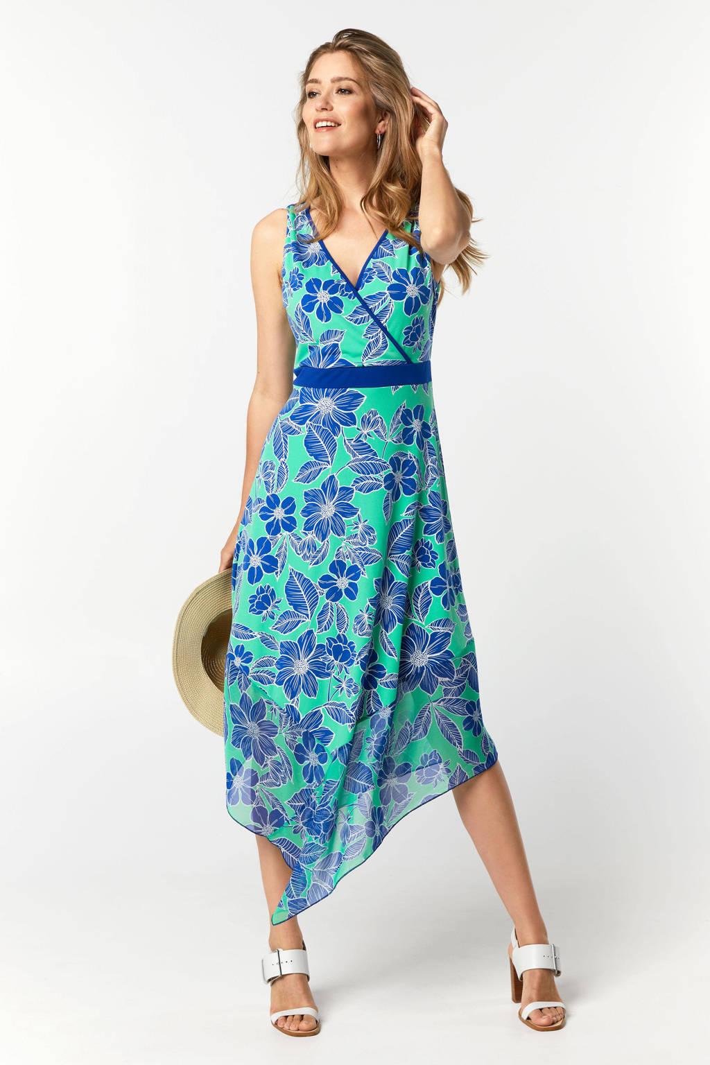 Miss Etam Regulier gebloemde jurk groen/blauw, Groen/blauw
