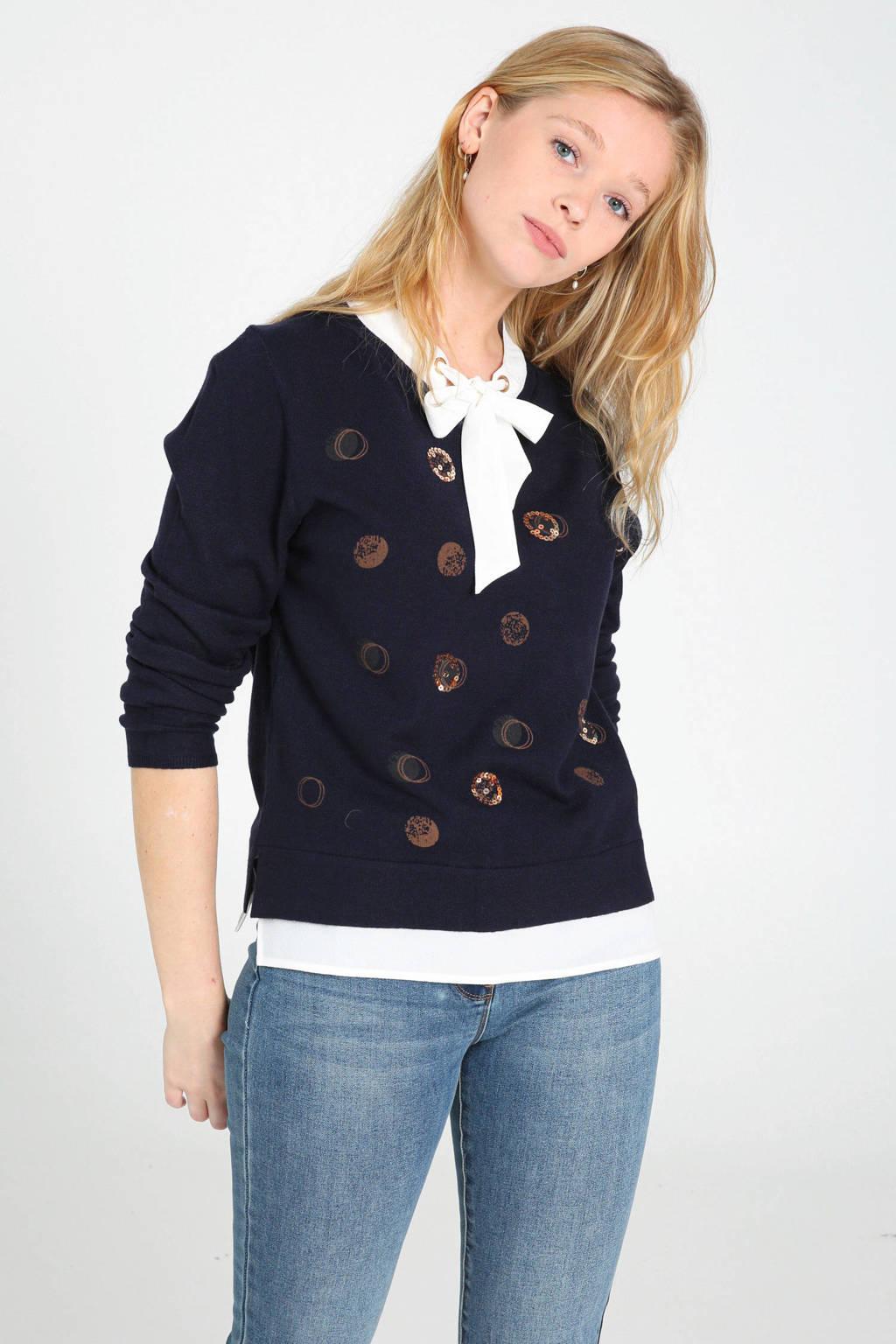 Cassis fijngebreide trui met printopdruk en pailletten marine/wit/brons, Marine/wit/brons