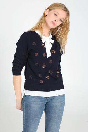 fijngebreide trui met printopdruk en pailletten marine/wit/brons
