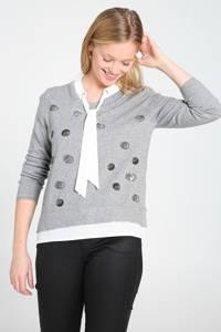 Cassis fijngebreide trui met printopdruk en pailletten grijs/wit/zwart, Grijs/wit/zwart