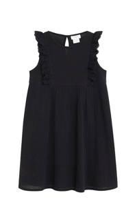 Mango Kids jurk met volant zwart, Zwart
