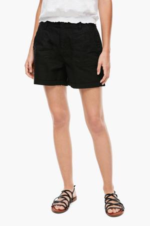 loose fit bermuda met linnen zwart