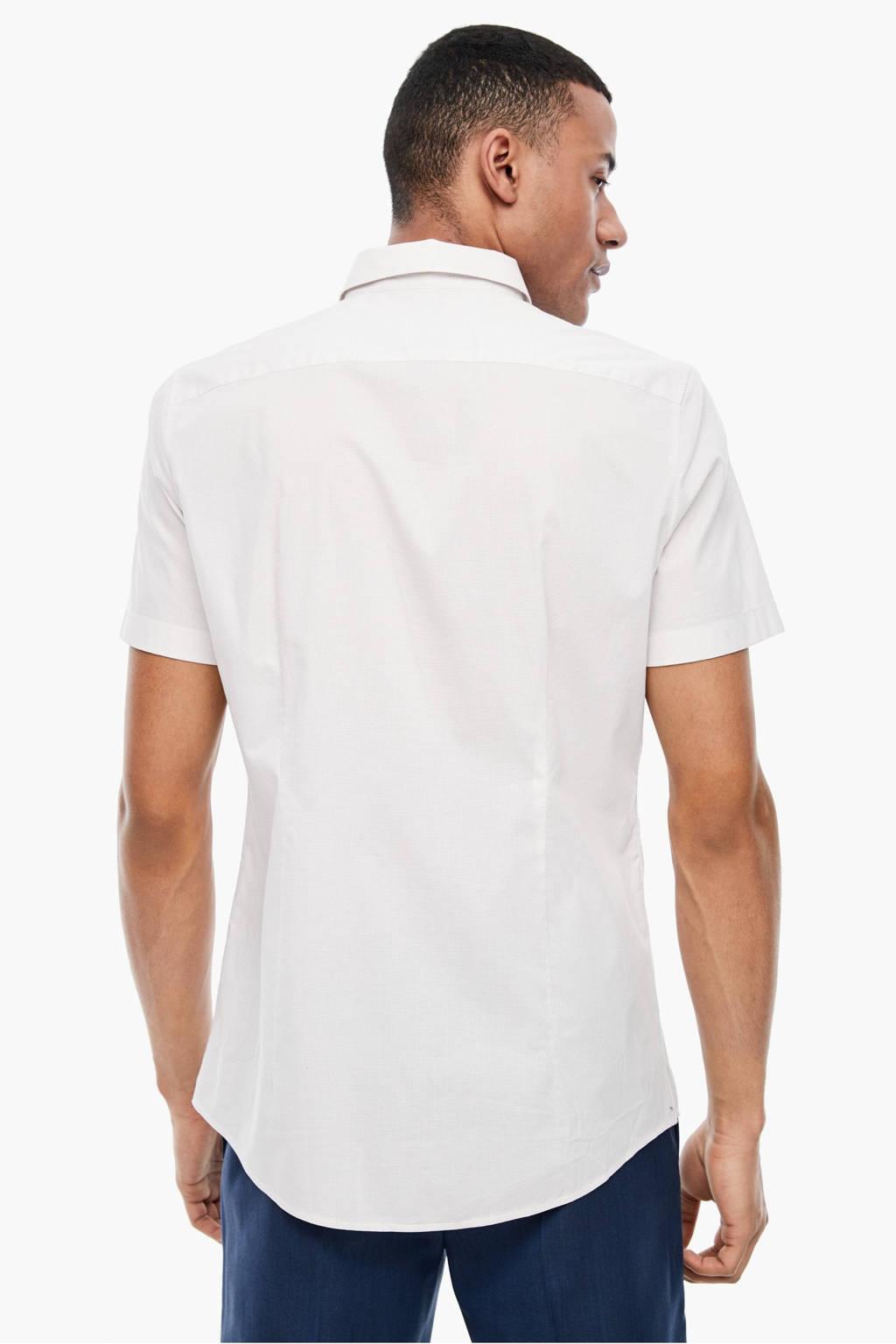 s.Oliver BLACK LABEL slim fit overhemd met all over print beige, Beige