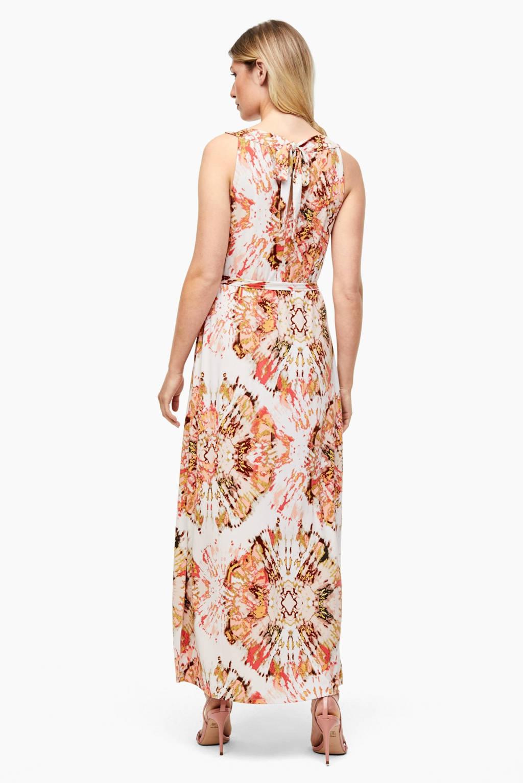 s.Oliver BLACK LABEL maxi jurk met all over print en ceintuur wit/oranje, Wit/oranje