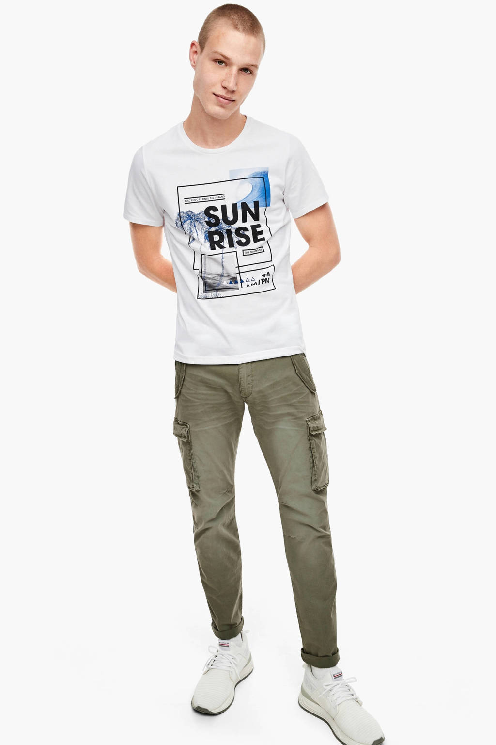 Q/S designed by T-shirt met printopdruk wit, Wit