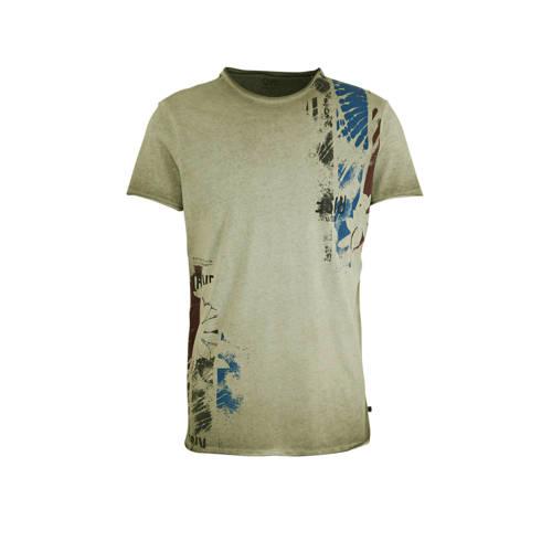 Q/S designed by T-shirt met printopdruk olijfgroen