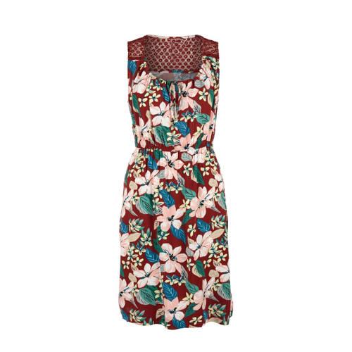 Q S designed by gebloemde jersey jurk brique