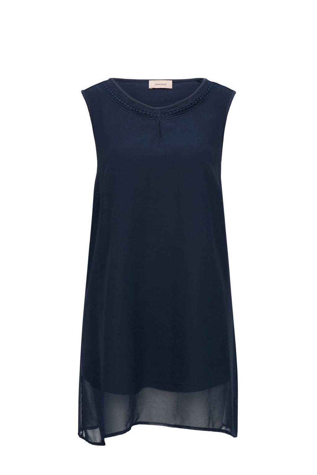 TRIANGLE semi-transparante top donkerblauw, Donkerblauw