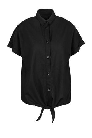 blouse met linnen zwart