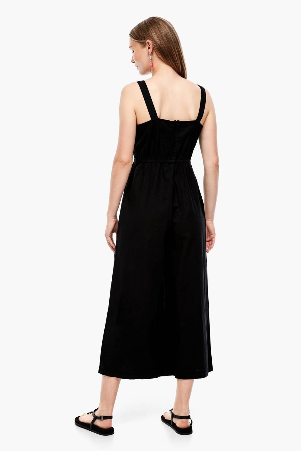 Q/S designed by jumpsuit met linnen zwart, Zwart