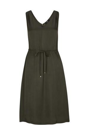 jurk met plooien olijfgroen