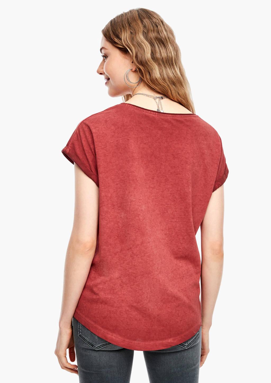 Q/S designed by coated T-shirt met printopdruk en glitters brique/groen/geel, Brique/groen/geel