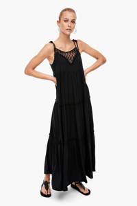Q/S designed by semi-transparante maxi jurk met kant zwart, Zwart