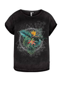 Q/S designed by coated T-shirt met printopdruk en glitters zwart washed/groen/wit, Zwart washed/groen/wit