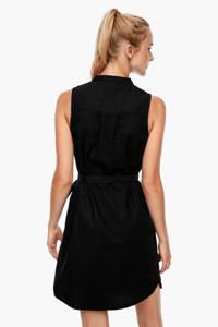 Q/S designed by jurk met linnen zwart, Zwart