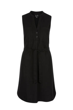 jurk met linnen zwart