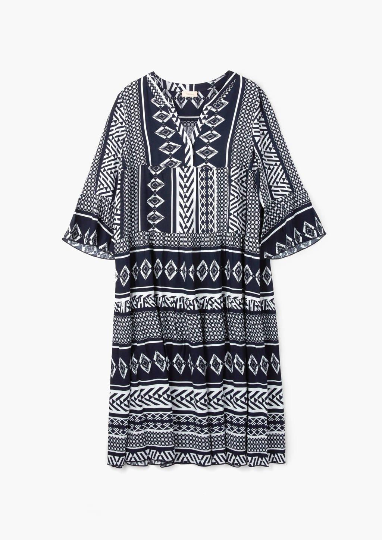 TRIANGLE jurk met all over print blauw/wit, Blauw/wit