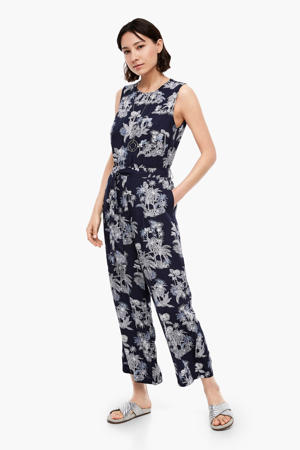 jumpsuit met all over print donkerblauw