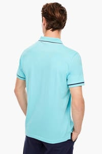 s.Oliver slim fit polo met contrastbies en contrastbies turquoise, Turquoise