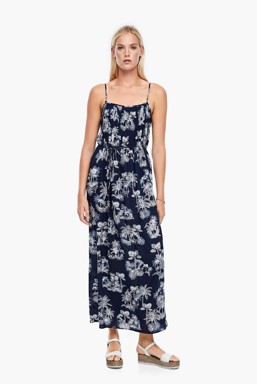s.Oliver jurk met all over print en ceintuur donkerblauw, Donkerblauw