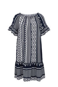 TRIANGLE off shoulder jurk met all over print en ruches blauw/multi, Blauw/multi