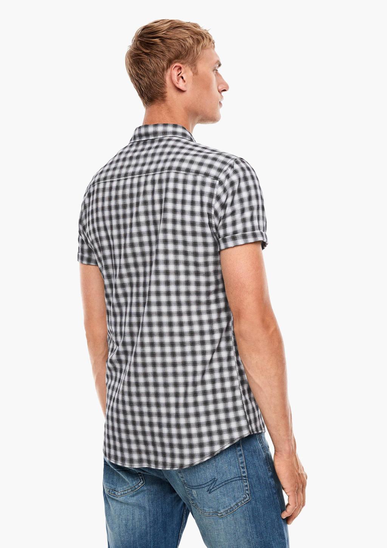Q/S designed by geruit slim fit overhemd zwart, Zwart