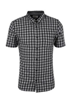 geruit slim fit overhemd zwart