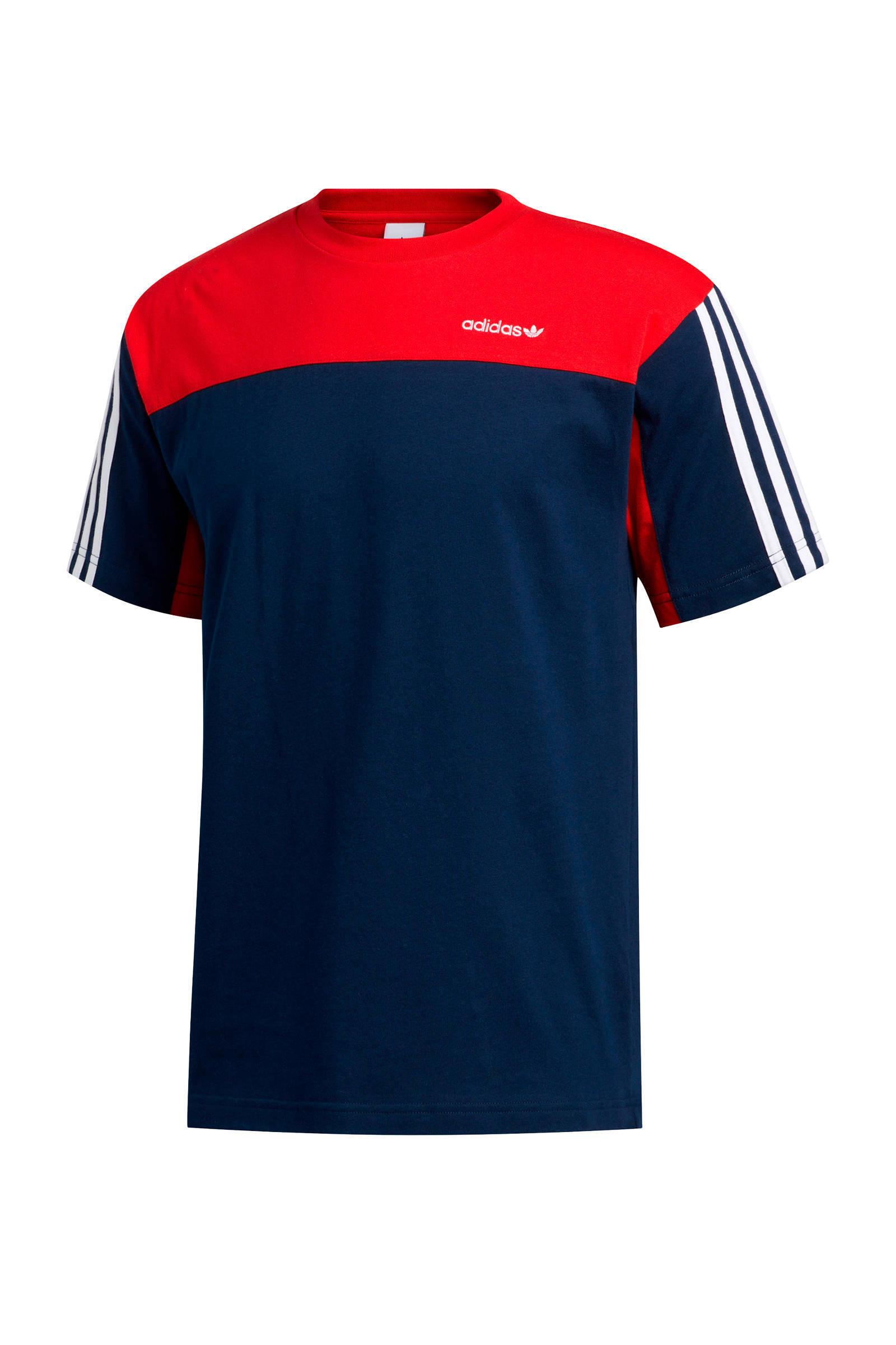 adidas Originals T shirt donkerblauwrood | wehkamp