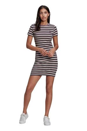 jurk zwart/wit/paars