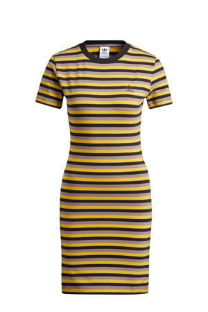 Corduroy gestreepte T-shirtjurk geel/zwart/lila