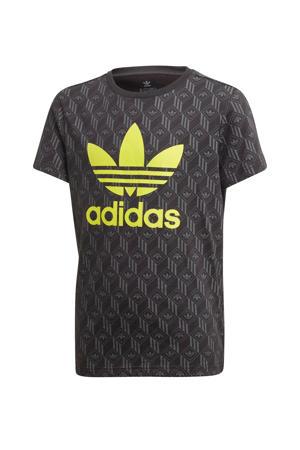 T-shirt antraciet/limegroen