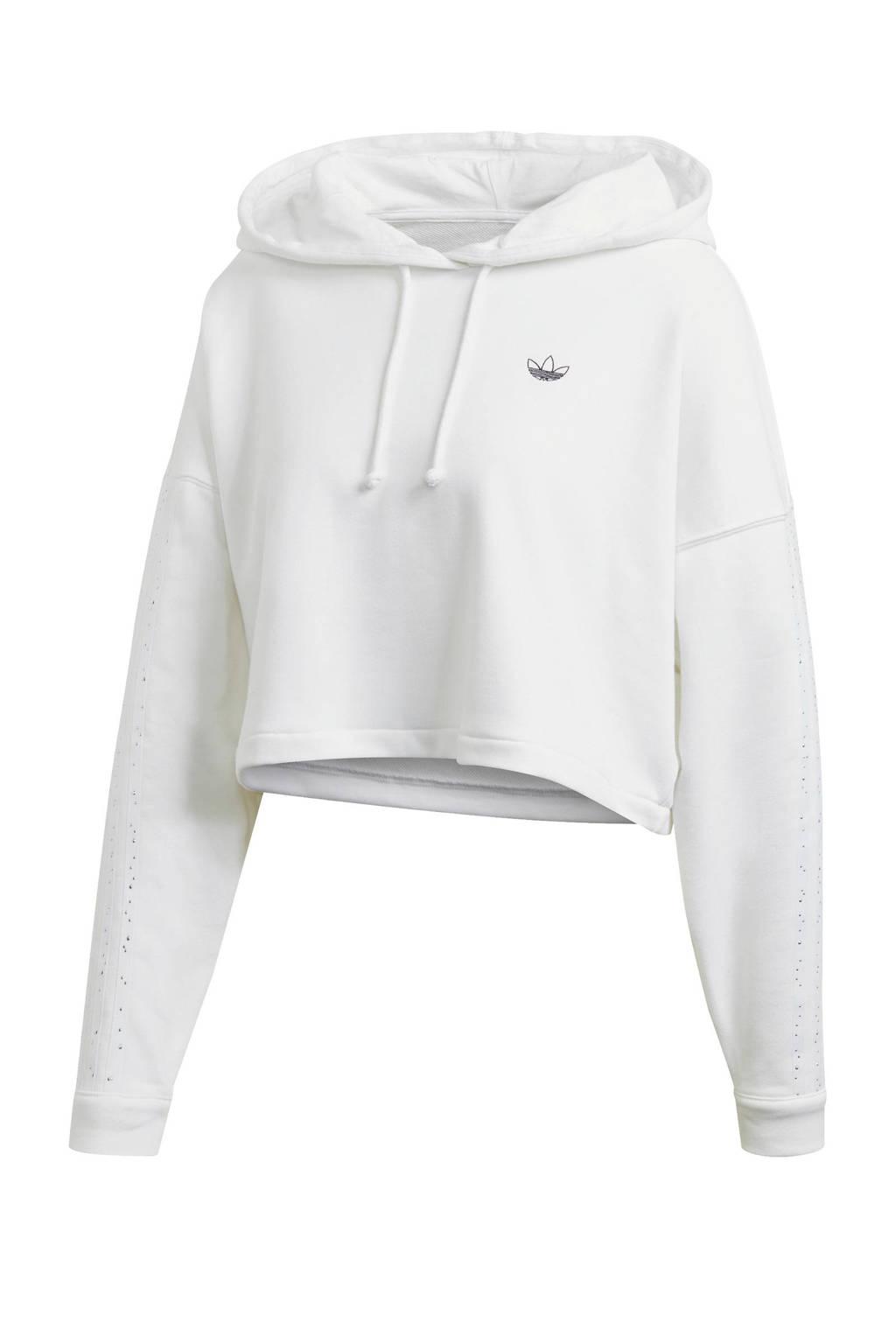 adidas Originals cropped hoodie wit, Wit