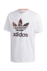 adidas Originals T-shirt wit/bruin, Wit/bruin
