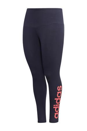 Plus Size sportbroek donkerblauw/roze
