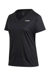 adidas Performance Plus Size Designed2Move sport T-shirt zwart/wit, Zwart/wit