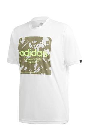 sport T-shirt wit/groen