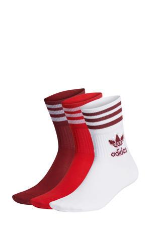 sokken - set van 3 wit/rood