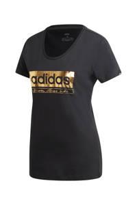 adidas Performance sport T-shirt zwart/goud, Zwart/goud