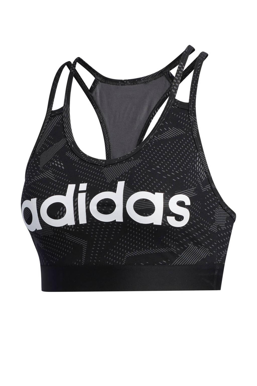 adidas Performance level 1 sportbh zwart, Zwart