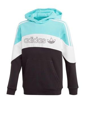 hoodie zwart/lichtblauw