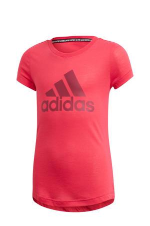 sport T-shirt roze/donkerrood