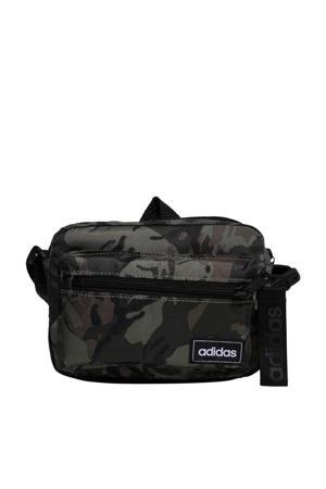 crossbody tas met camouflage print groen/zwart